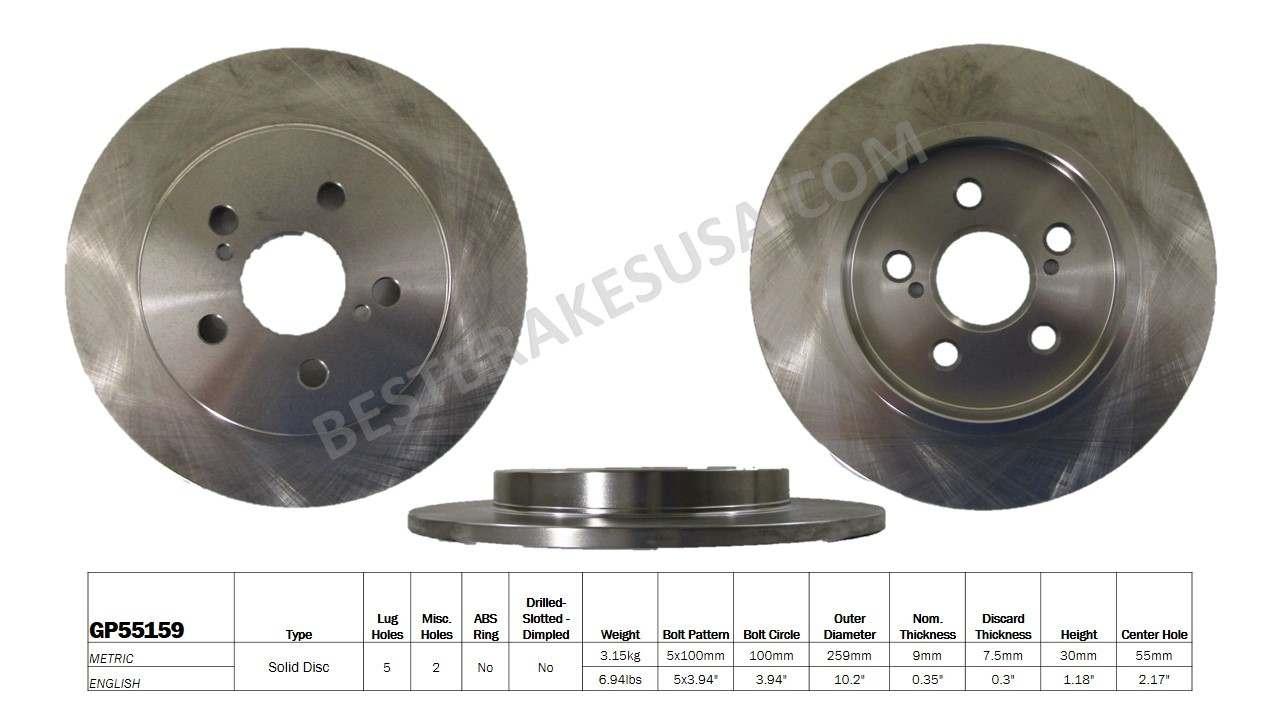 BEST BRAKES USA - Standard Brake Rotor - BBU GP55159