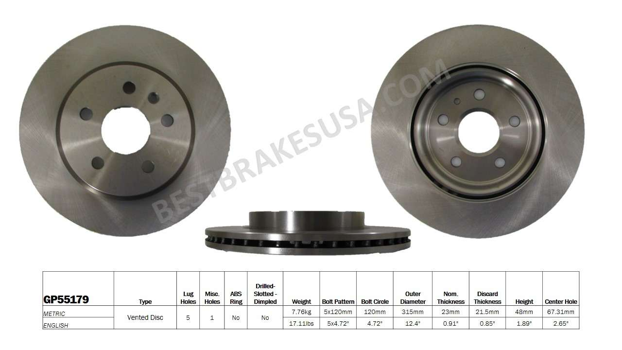 BEST BRAKES USA - Standard Brake Rotor (Rear) - BBU GP55179