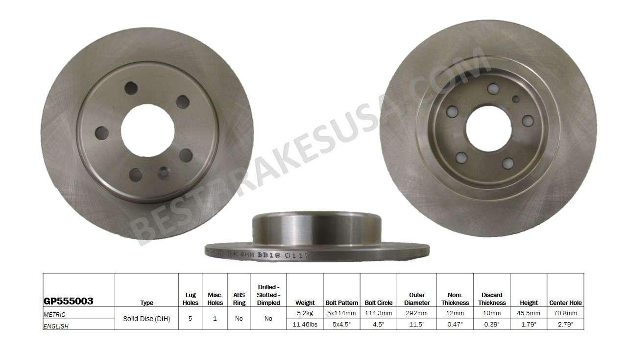 BEST BRAKES USA - Standard Brake Rotor - BBU GP555003