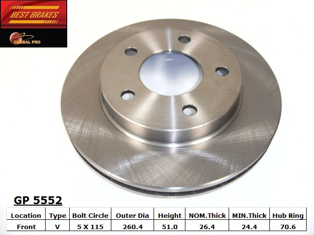 BEST BRAKES USA - Standard Brake Rotor - BBU GP5552