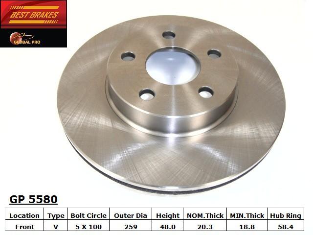 BEST BRAKES USA - Standard Brake Rotor - BBU GP5580