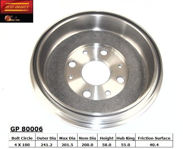 BEST BRAKES USA - Standard Brake Drum - BBU GP80006