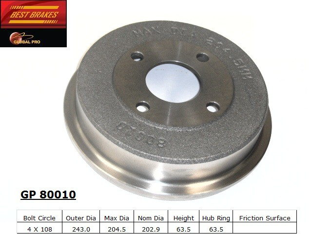BEST BRAKES USA - Standard Brake Drum (Rear) - BBU GP80010