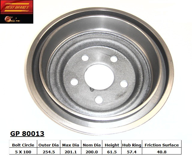 BEST BRAKES USA - Standard Brake Drum - BBU GP80013