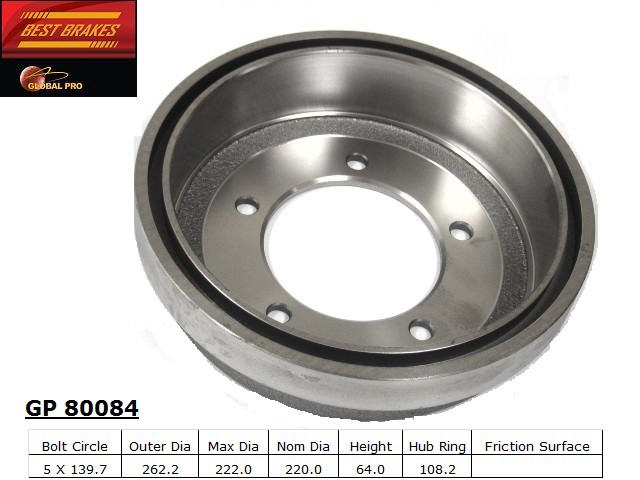 BEST BRAKES USA - Standard Brake Drum - BBU GP80084
