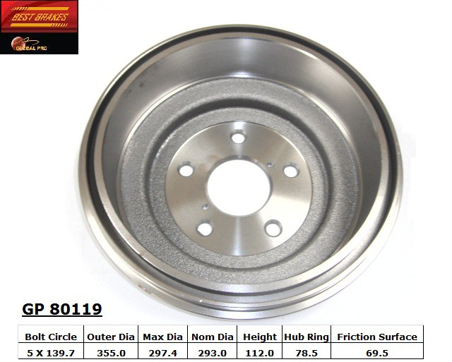 BEST BRAKES USA - Standard Brake Drum - BBU GP80119