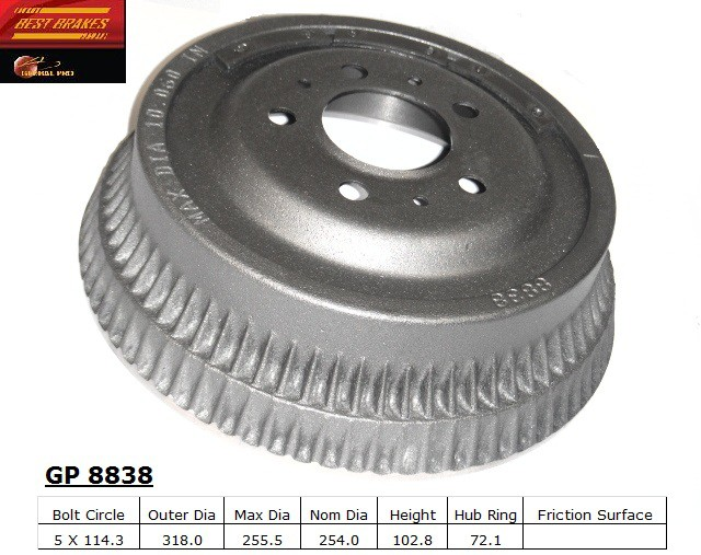 BEST BRAKES USA - Standard Brake Drum - BBU GP8838