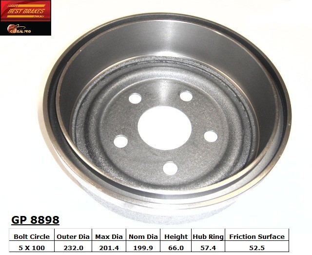 BEST BRAKES USA - Standard Brake Drum - BBU GP8898