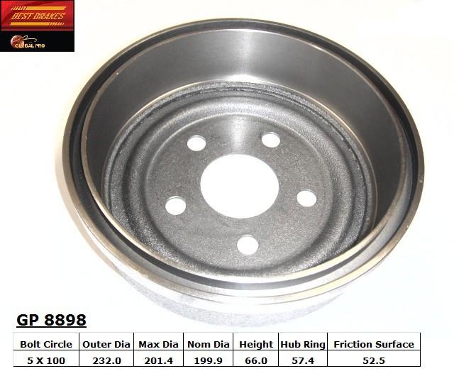 BEST BRAKES USA - Standard Brake Drum - BBU GP8898