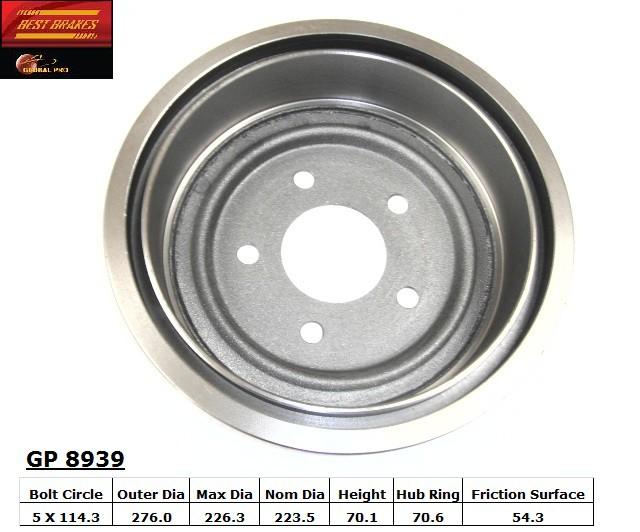 BEST BRAKES USA - Standard Brake Drum - BBU GP8939