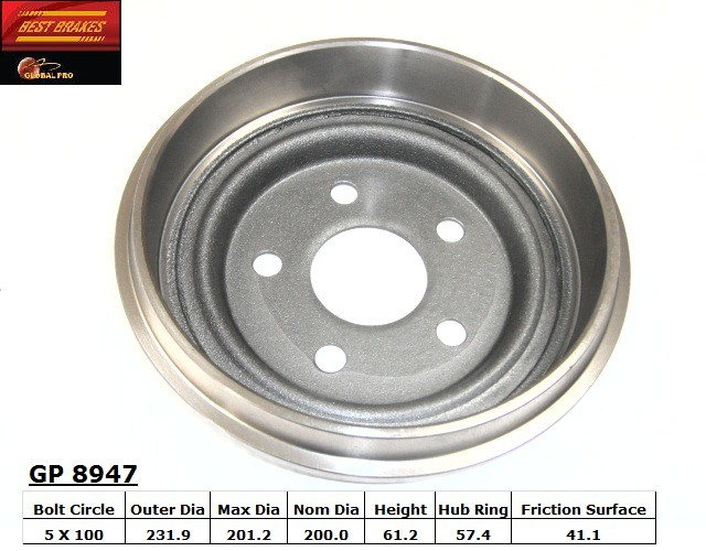BEST BRAKES USA - Standard Brake Drum - BBU GP8947