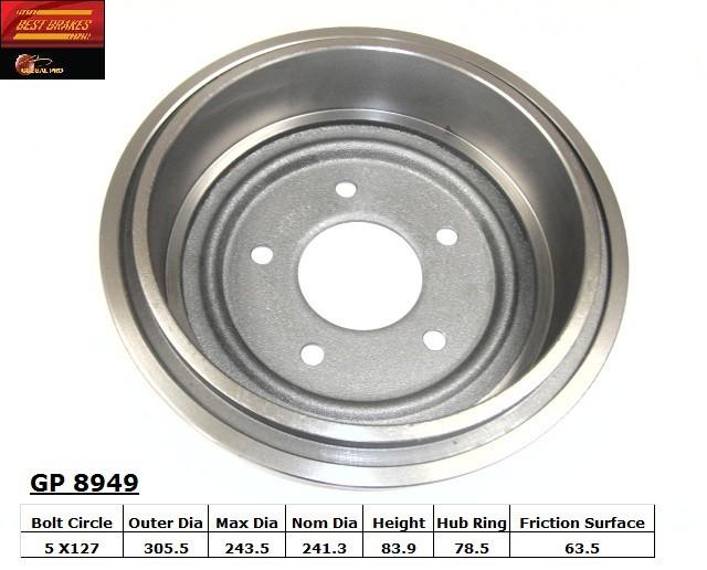 BEST BRAKES USA - Standard Brake Drum - BBU GP8949