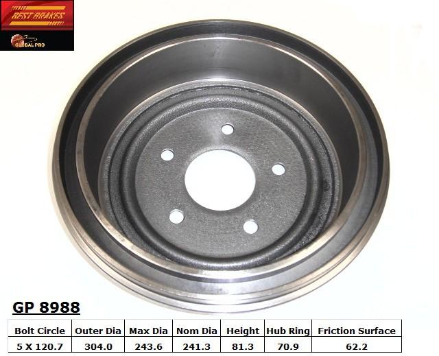 BEST BRAKES USA - Standard Brake Drum (Rear) - BBU GP8988