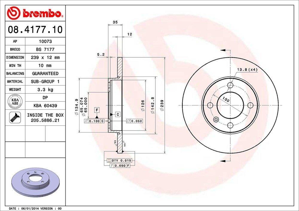 BREMBO NORTH AMERICA - Premium Oe Equivalent Rotor - BMO 08.4177.10