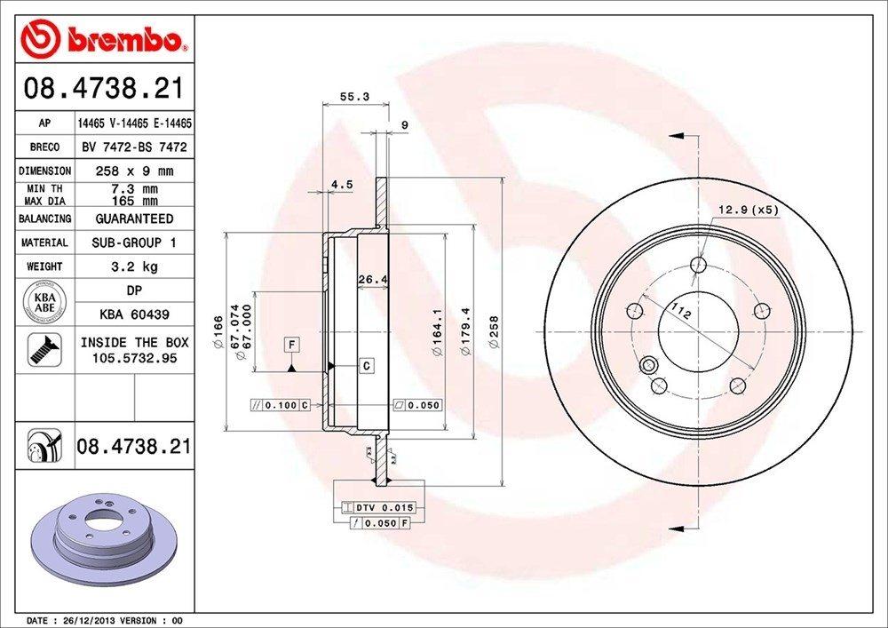 BREMBO NORTH AMERICA - Premium Uv Coated Oe Equivalent Rotor - BMO 08.4738.21