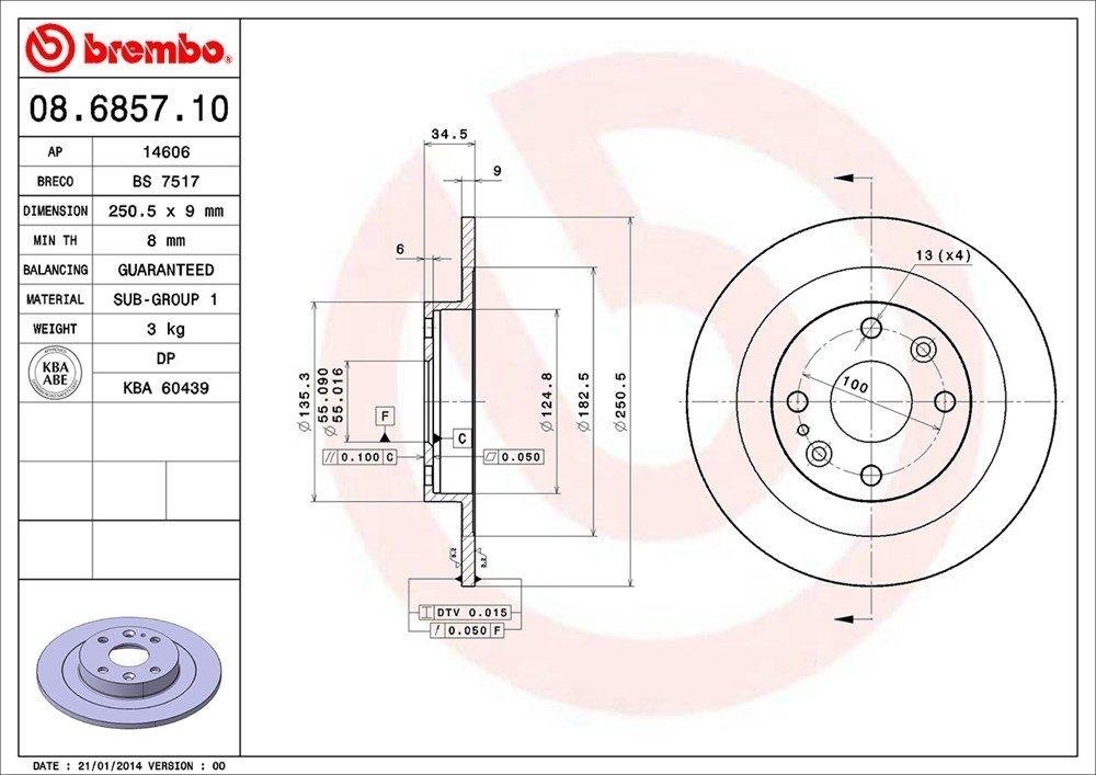 BREMBO NORTH AMERICA - Premium Oe Equivalent Rotor - BMO 08.6857.10