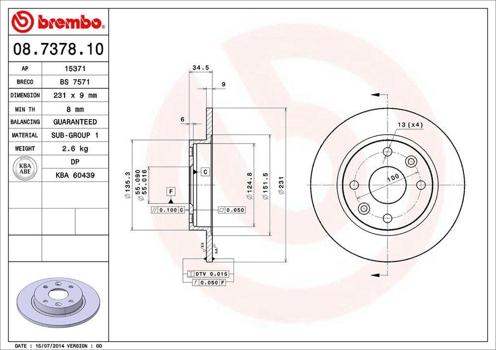 BREMBO NORTH AMERICA - Premium Oe Equivalent Rotor - BMO 08.7378.10