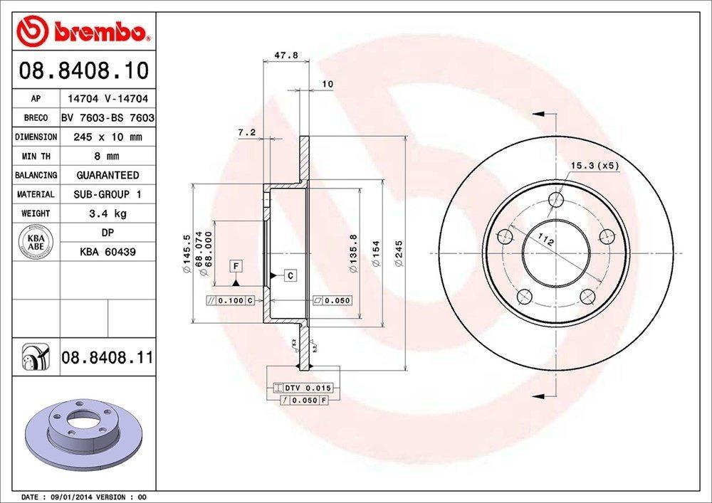 BREMBO NORTH AMERICA - Premium Uv Coated Oe Equivalent Rotor - BMO 08.8408.11