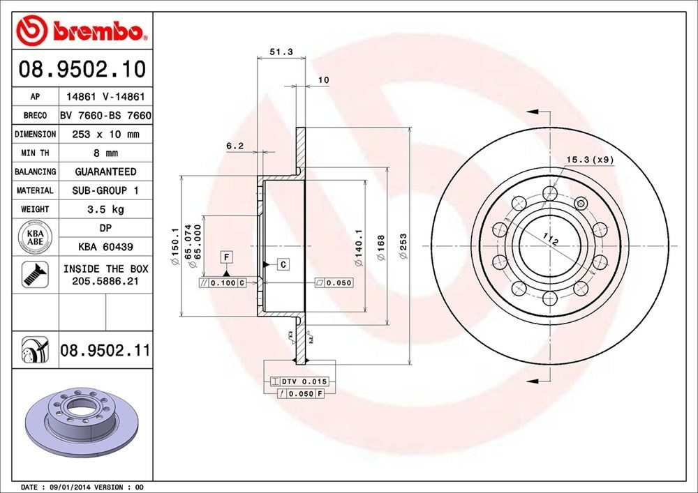 BREMBO NORTH AMERICA - Premium Uv Coated Oe Equivalent Rotor - BMO 08.9502.11
