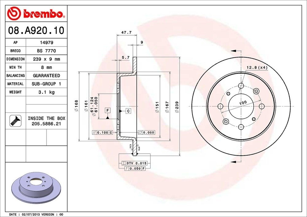 BREMBO NORTH AMERICA - Premium Oe Equivalent Rotor - BMO 08.A920.10