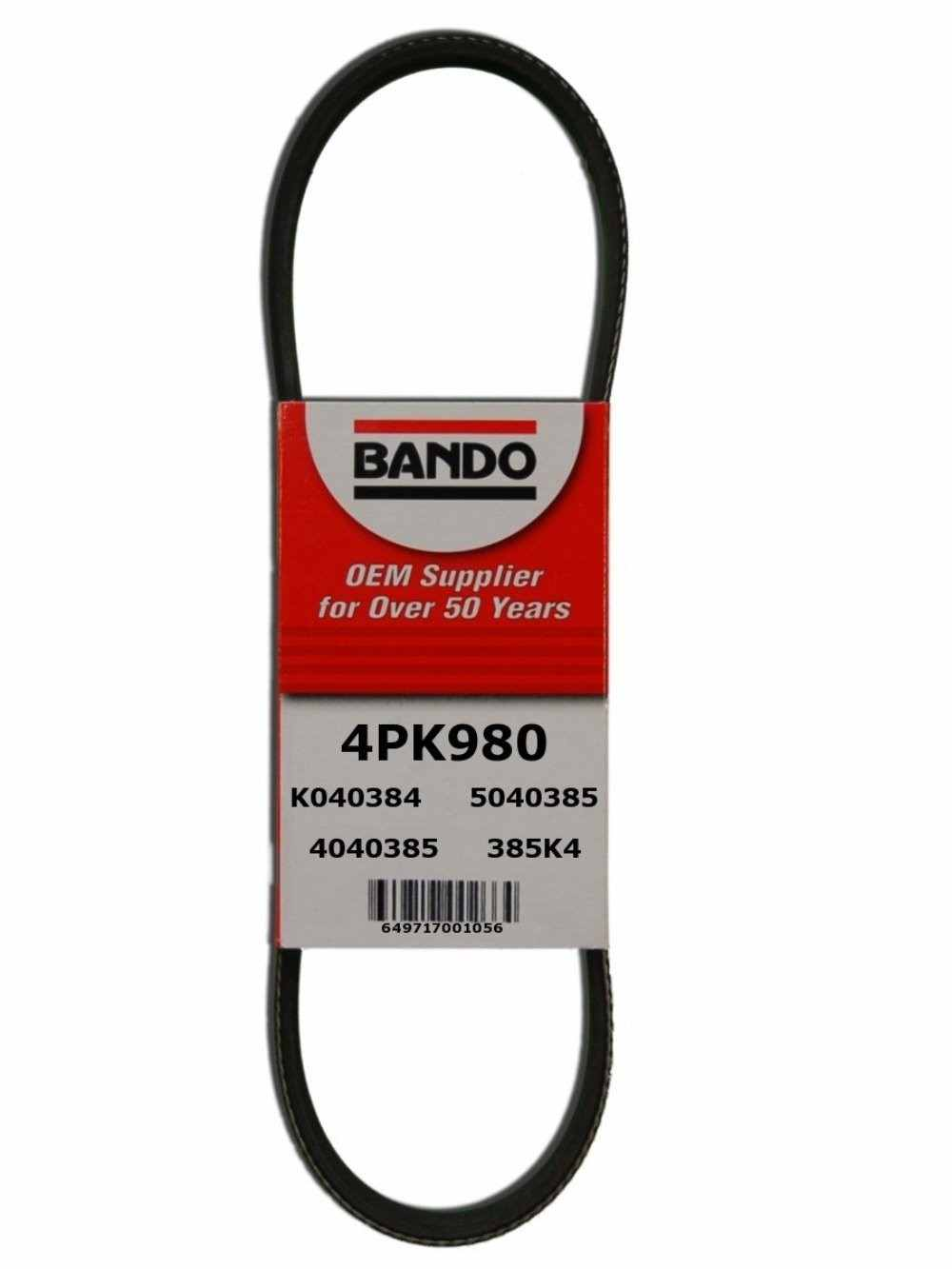 BANDO - Rib Ace Precision Engineered V-Ribbed Belt (Alternator and Water Pump) - BWO 4PK980