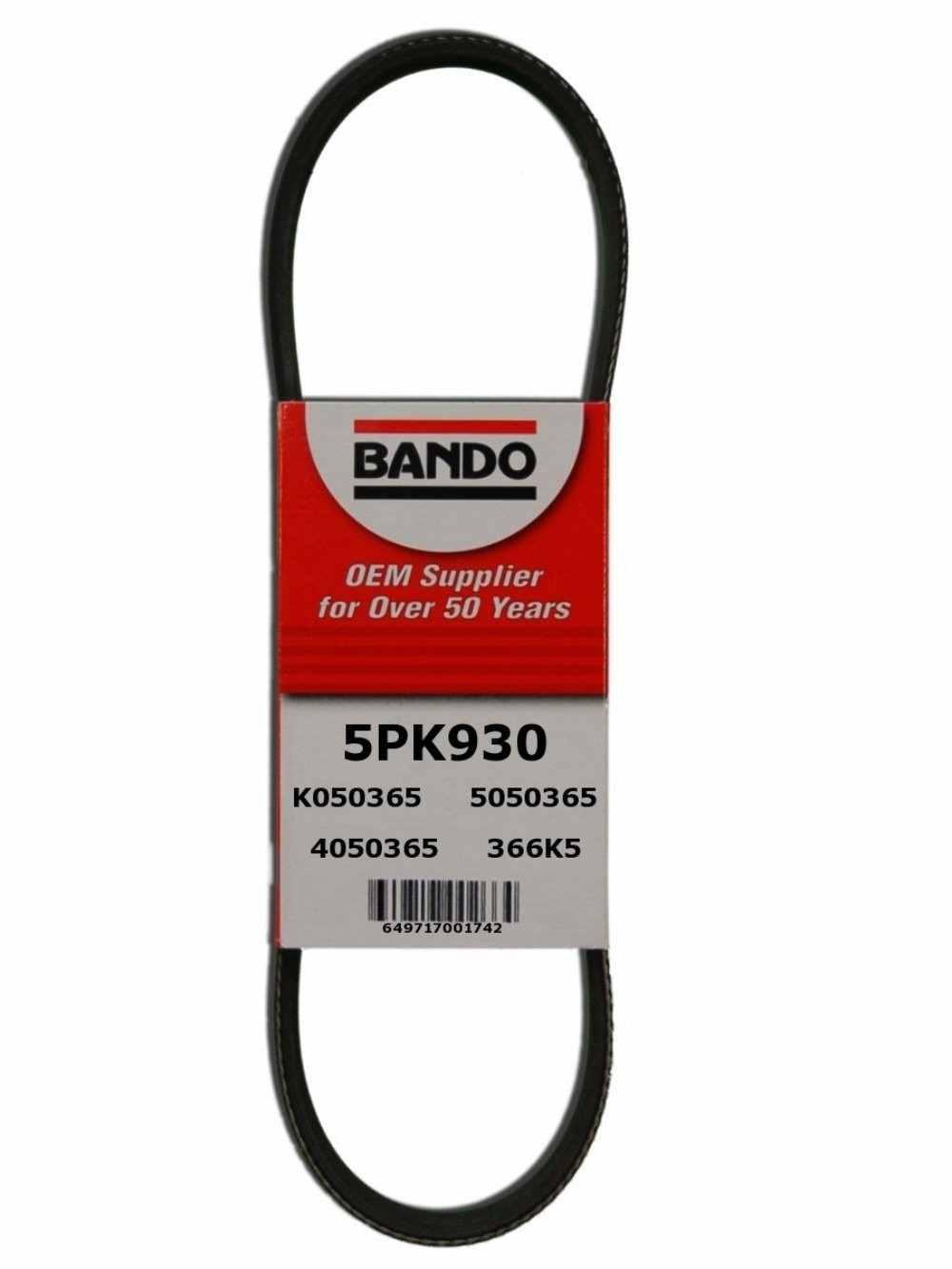 BANDO - Rib Ace Precision Engineered V-Ribbed Belt (Water Pump and Alternator) - BWO 5PK930