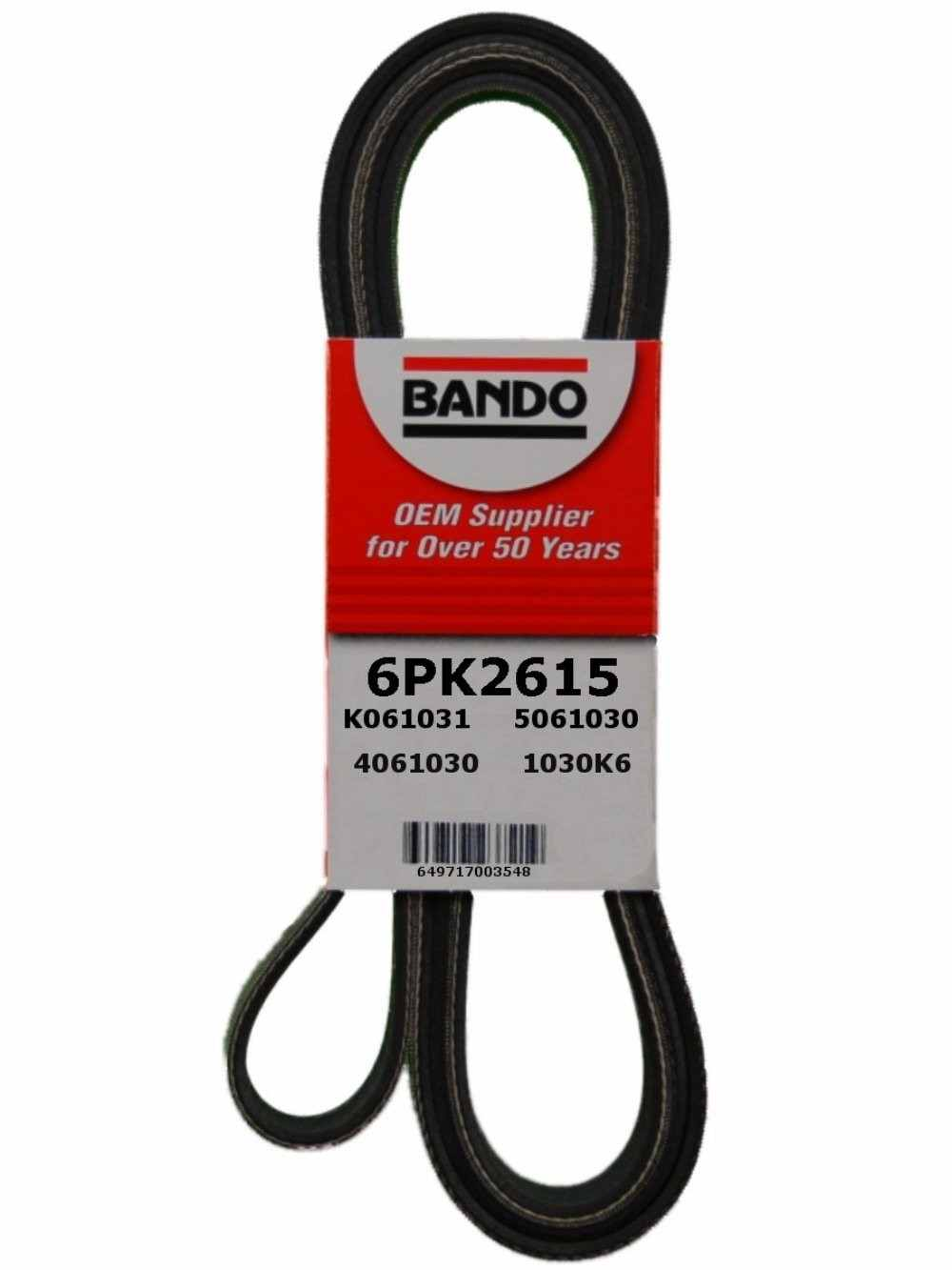 BANDO - Rib Ace Precision Engineered V-Ribbed Belt (Water Pump, Alternator, Air Conditioning and Power Steering) - BWO 6PK2615