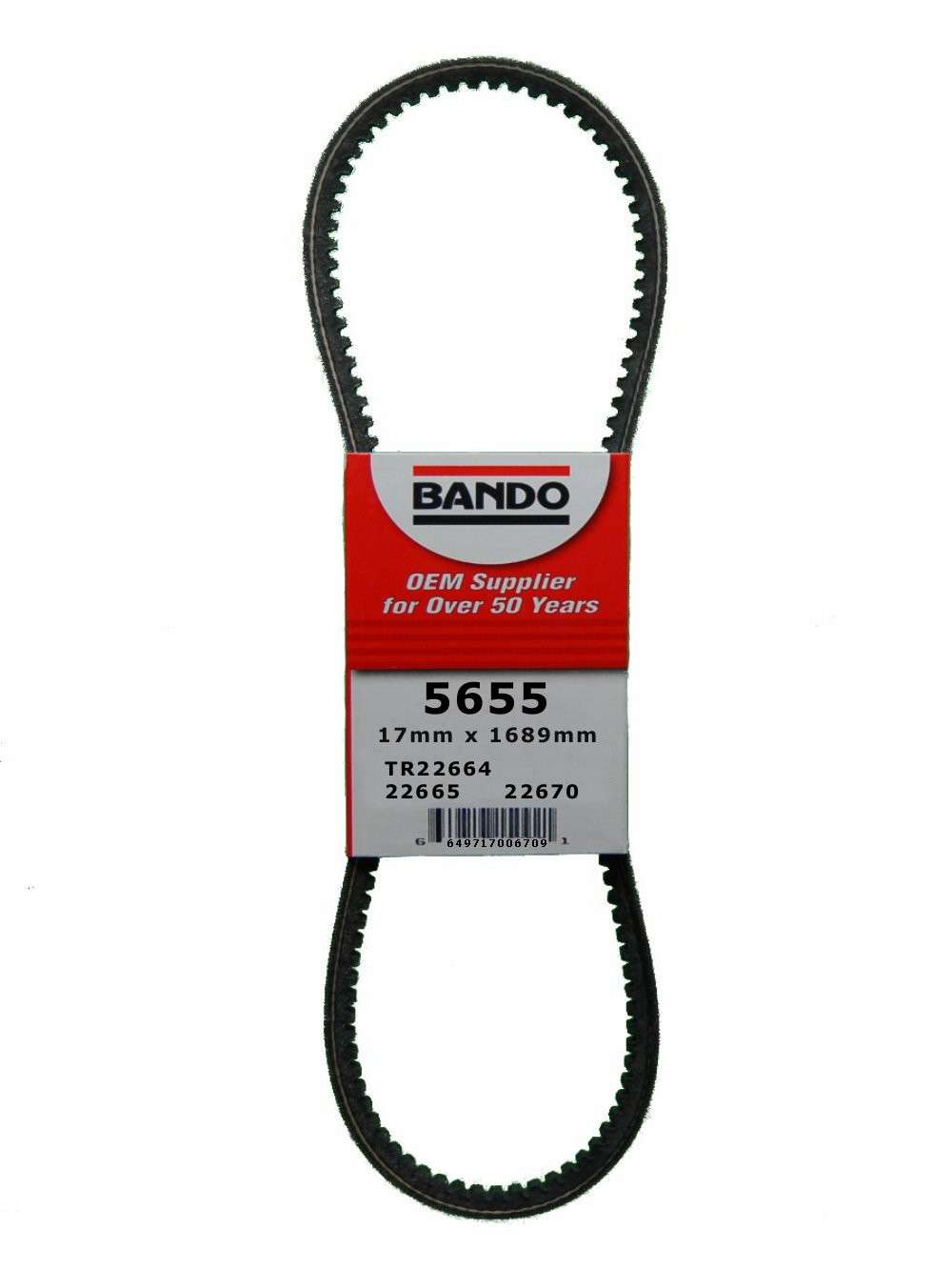 BANDO - RPF Precision Engineered Raw Edge Cogged V-Belt (Air Pump, Alternator and Power Steering) - BWO 5655