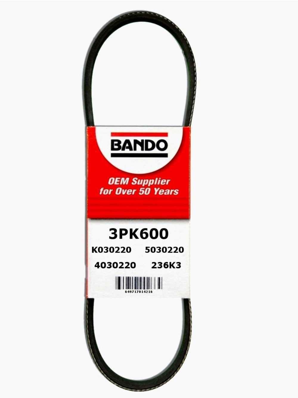BANDO - Rib Ace Precision Engineered V-Ribbed Belt - BWO 3PK600