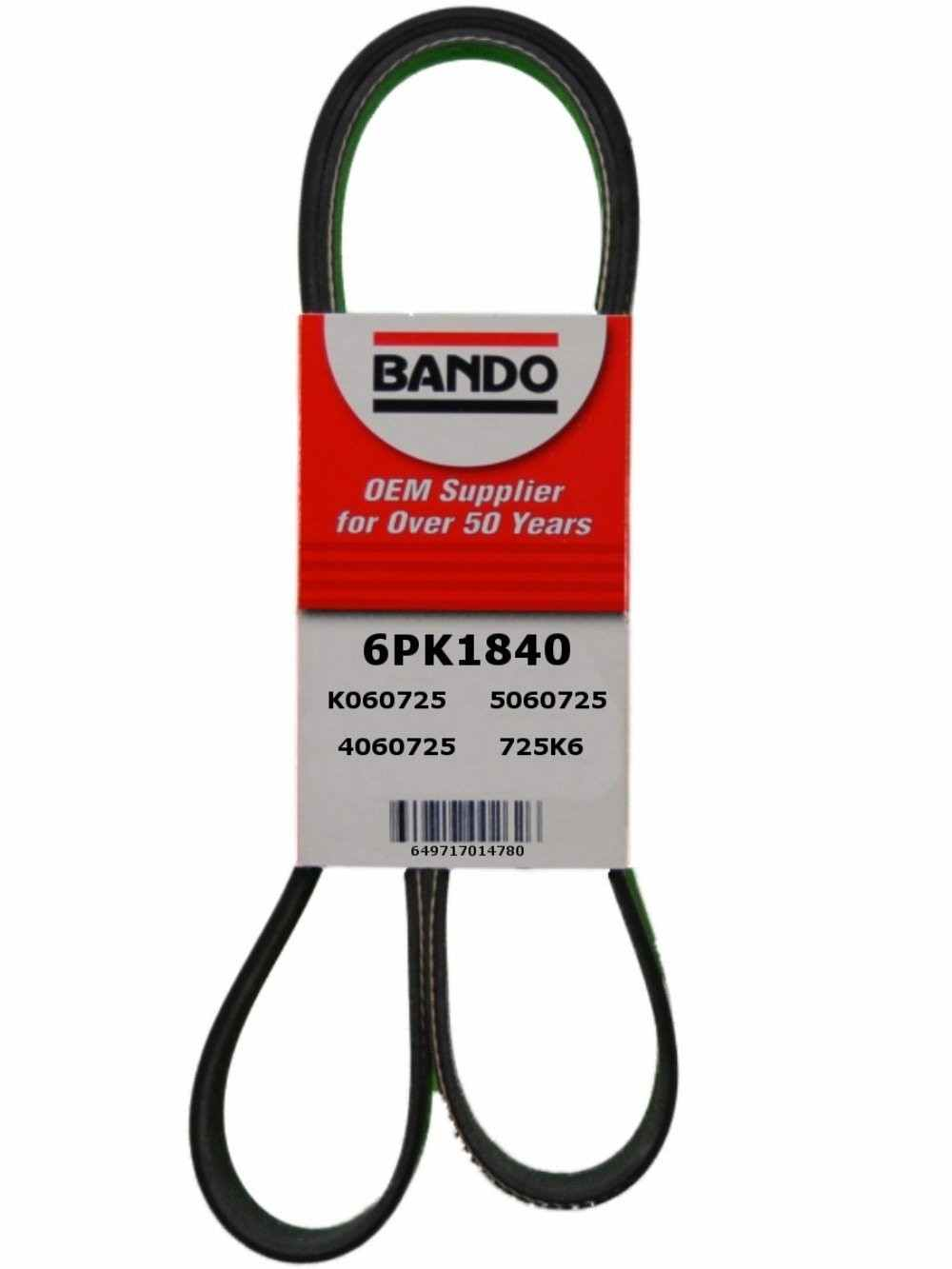 BANDO - Rib Ace Precision Engineered V-Ribbed Belt (Alternator and Air Conditioning) - BWO 6PK1840