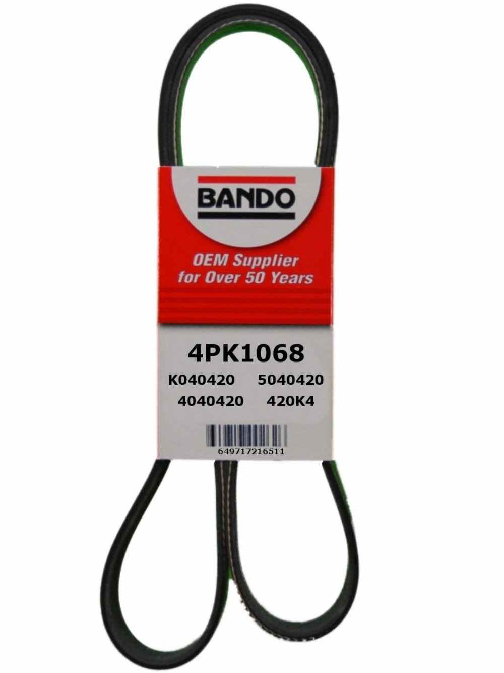 BANDO - Rib Ace Precision Engineered V-Ribbed Belt (Power Steering and Water Pump) - BWO 4PK1068