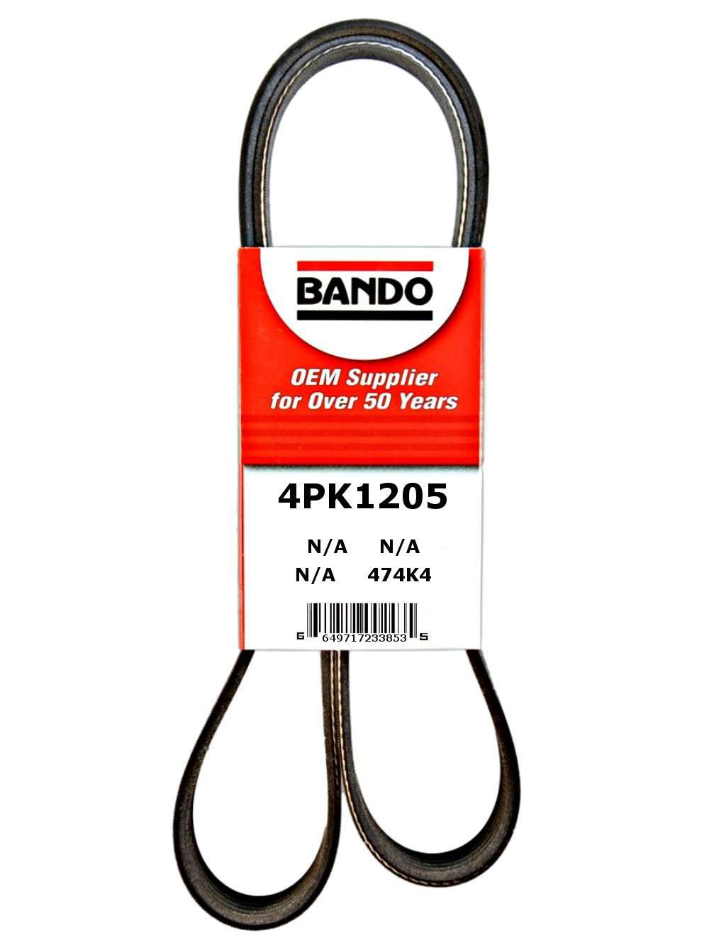 BANDO - Rib Ace Precision Engineered V-Ribbed Belt (Alternator, Water Pump and Air Conditioning) - BWO 4PK1205