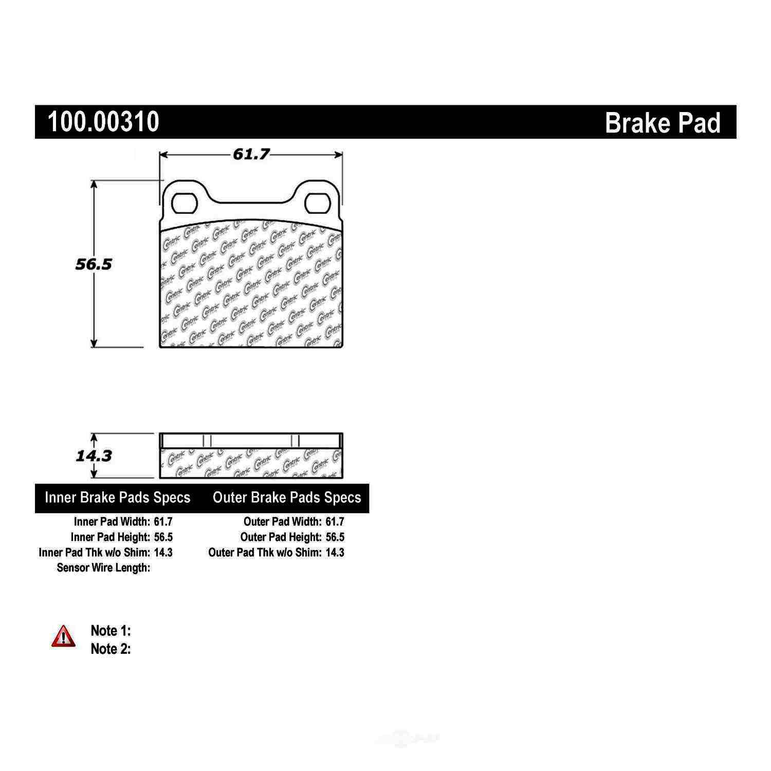 CENTRIC PARTS - OE Formula Brake Pads-Preferred (Front) - CEC 100.00310