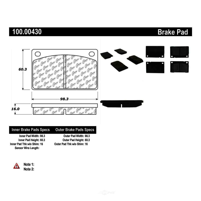 CENTRIC PARTS - OE Formula Brake Pads (Front) - CEC 100.00430