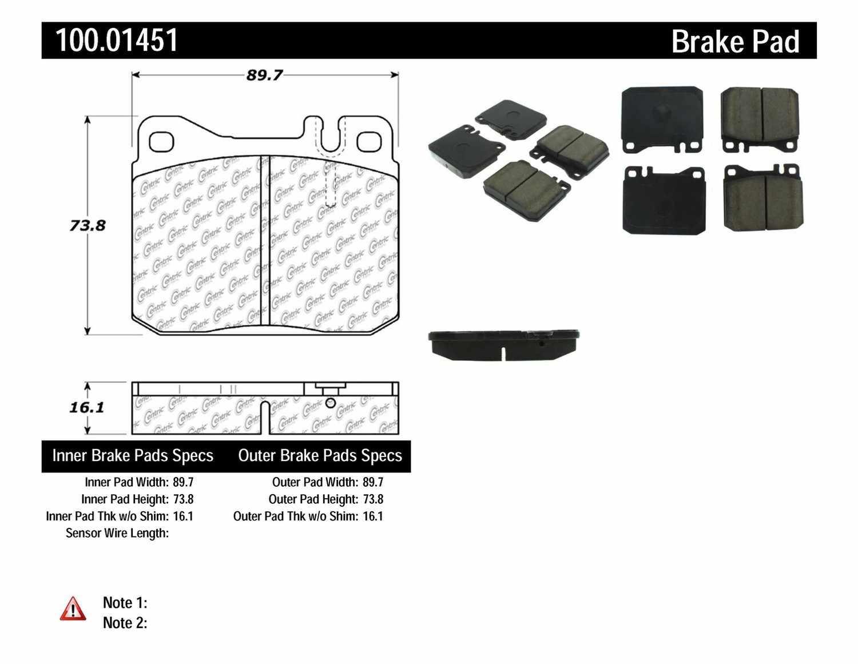 CENTRIC PARTS - OE Formula Brake Pads (Front) - CEC 100.01451