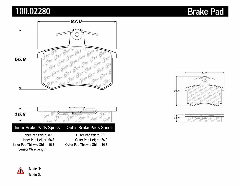 CENTRIC PARTS - OE Formula Brake Pads w/Hardware (Rear) - CEC 100.02280