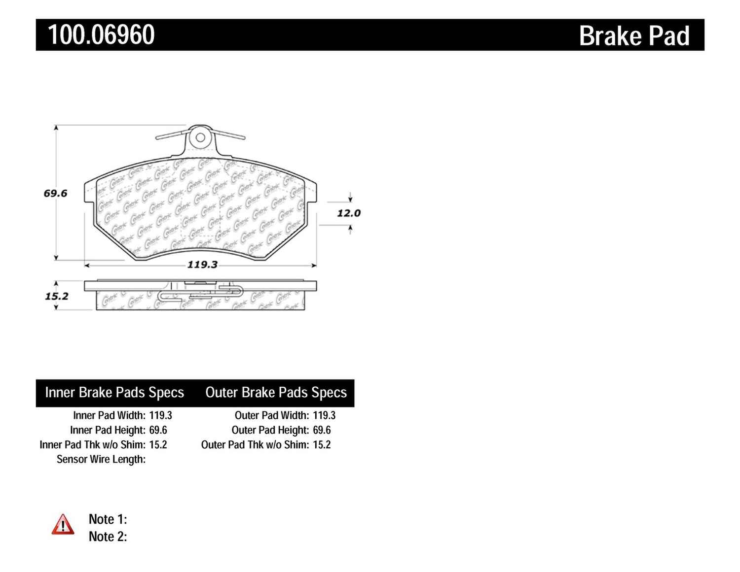 CENTRIC PARTS - OE Formula Brake Pads w/Hardware (Front) - CEC 100.06960