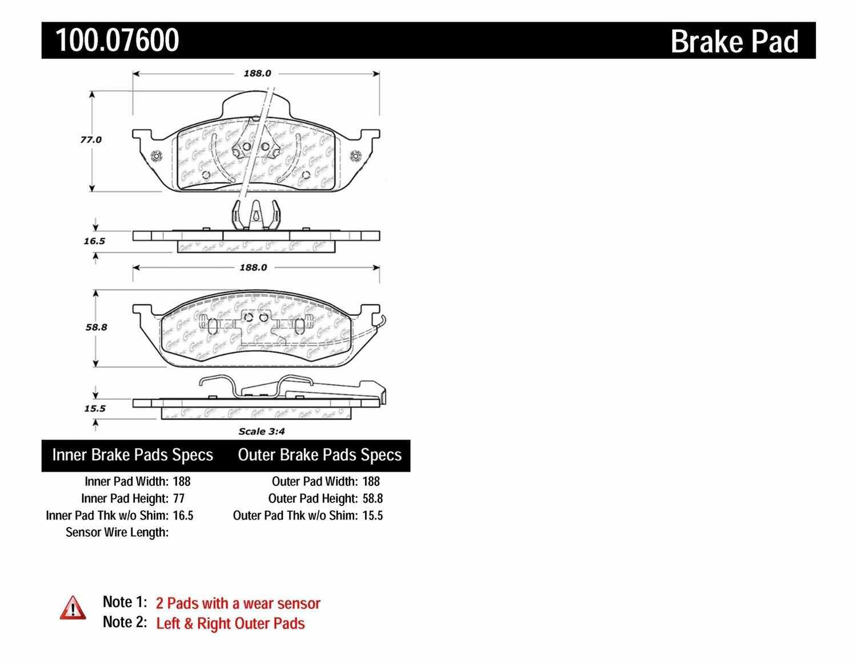 CENTRIC PARTS - OE Formula Brake Pads w/Hardware (Front) - CEC 100.07600