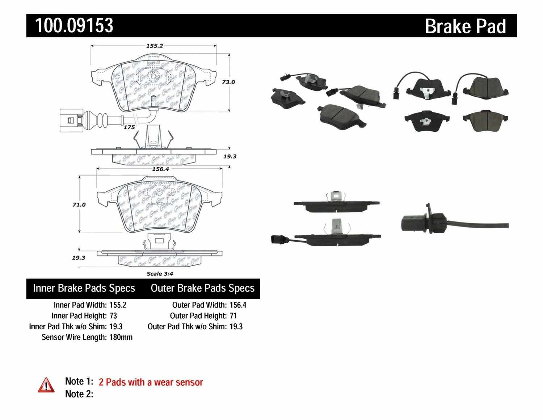 CENTRIC PARTS - OE Formula Brake Pads w/Hardware - CEC 100.09153