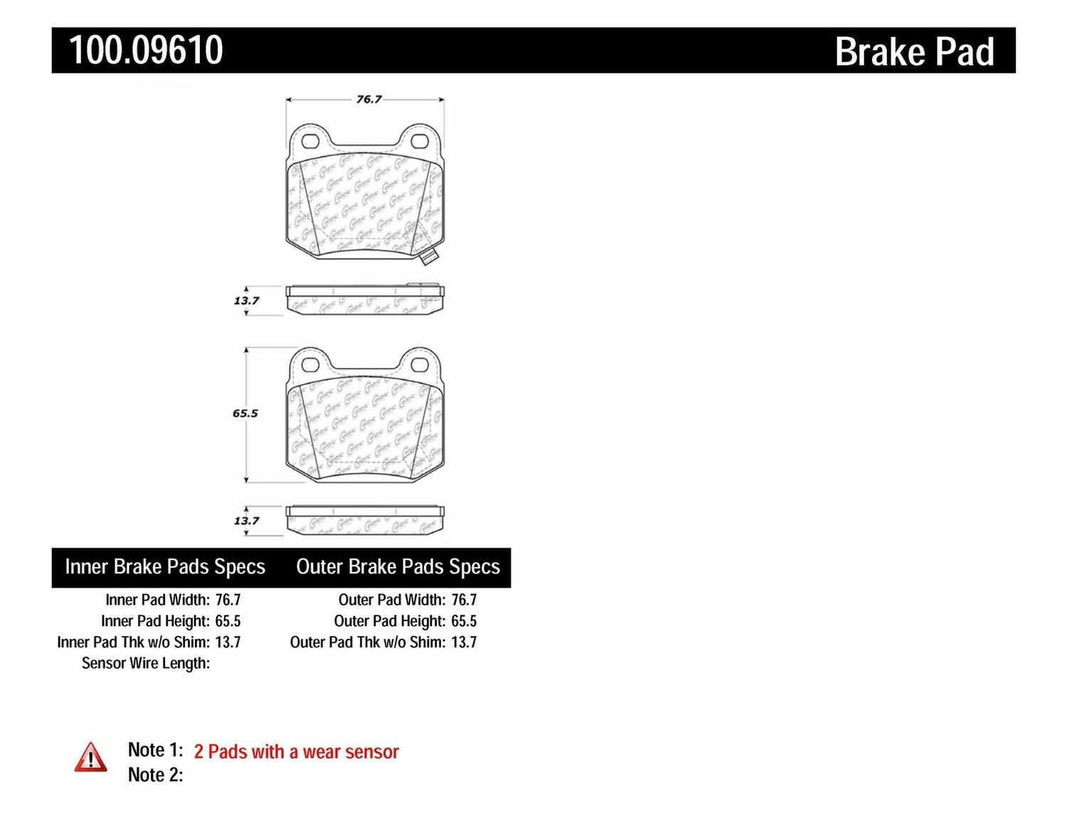 CENTRIC PARTS - OE Formula Brake Pads w/Hardware (Rear) - CEC 100.09610