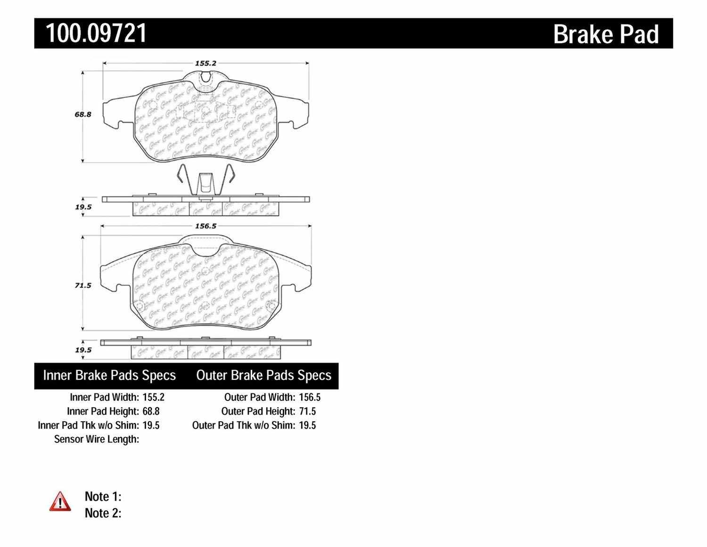CENTRIC PARTS - OE Formula Brake Pads w/Hardware - CEC 100.09721