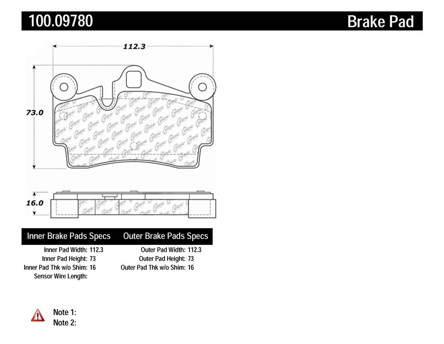 CENTRIC PARTS - OE Formula Brake Pads w/Hardware (Rear) - CEC 100.09780