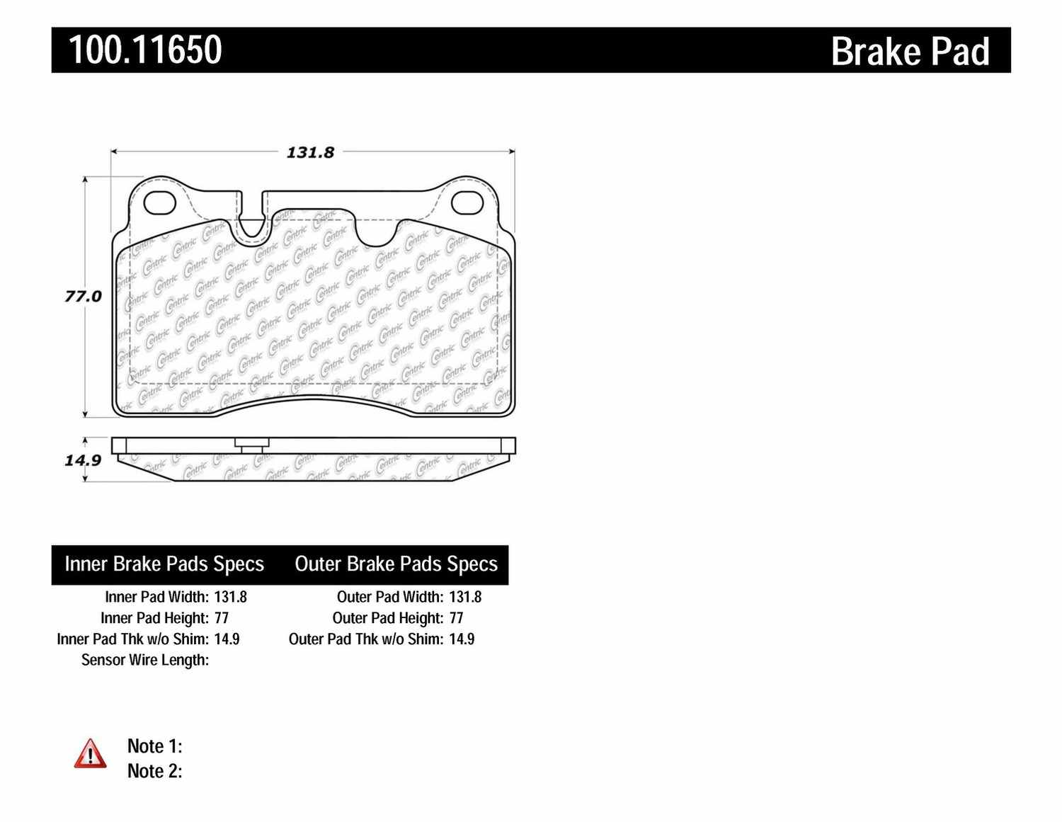 CENTRIC PARTS - OE Formula Brake Pads w/Hardware-Preferred (Front) - CEC 100.11650
