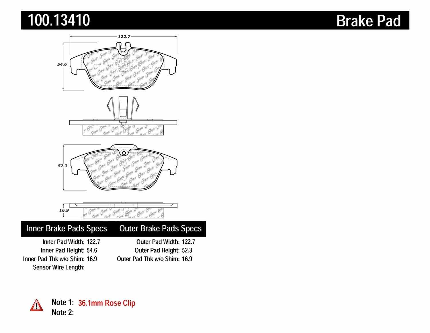 CENTRIC PARTS - OE Formula Brake Pads w/Hardware (Rear) - CEC 100.13410
