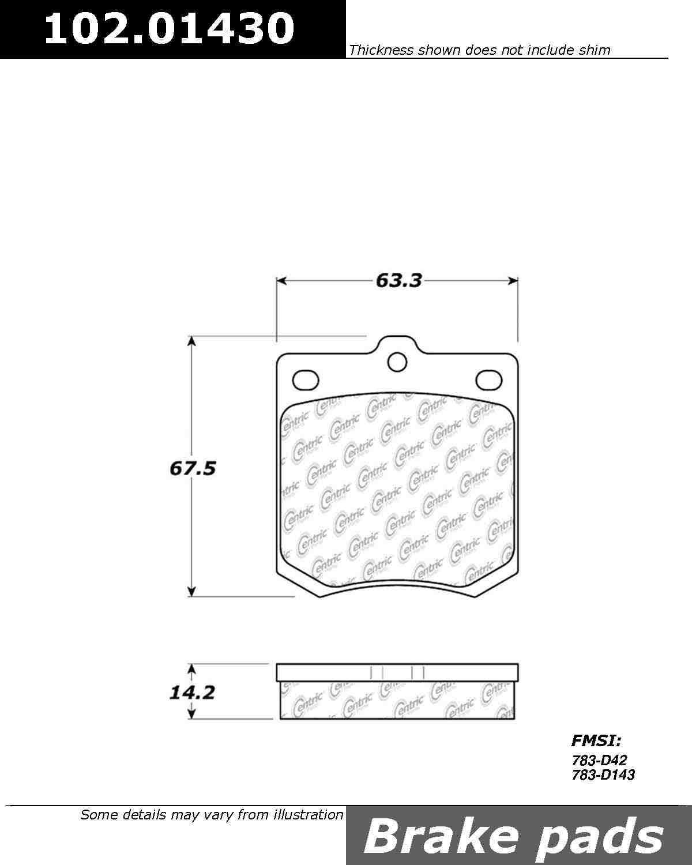 CENTRIC PARTS - C-TEK Standard Metallic Brake Pad (Front) - CEC 102.01430
