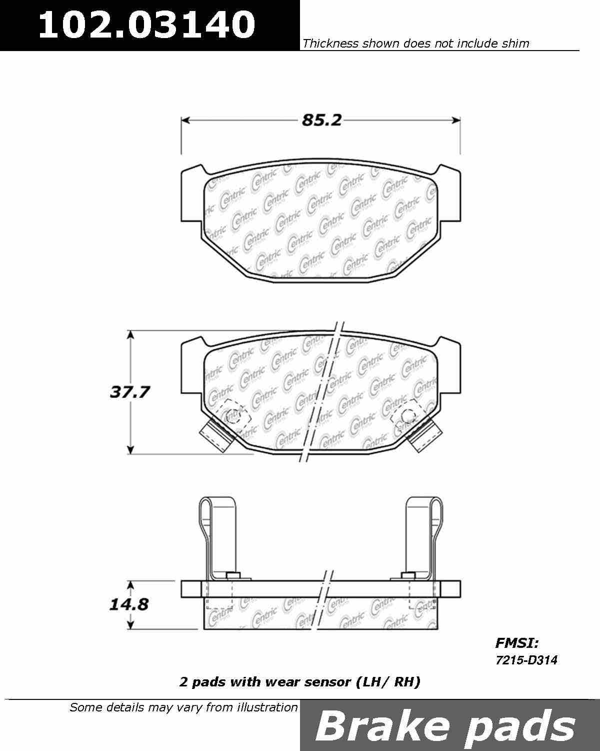 CENTRIC PARTS - C-TEK Standard Metallic Brake Pad - CEC 102.03140