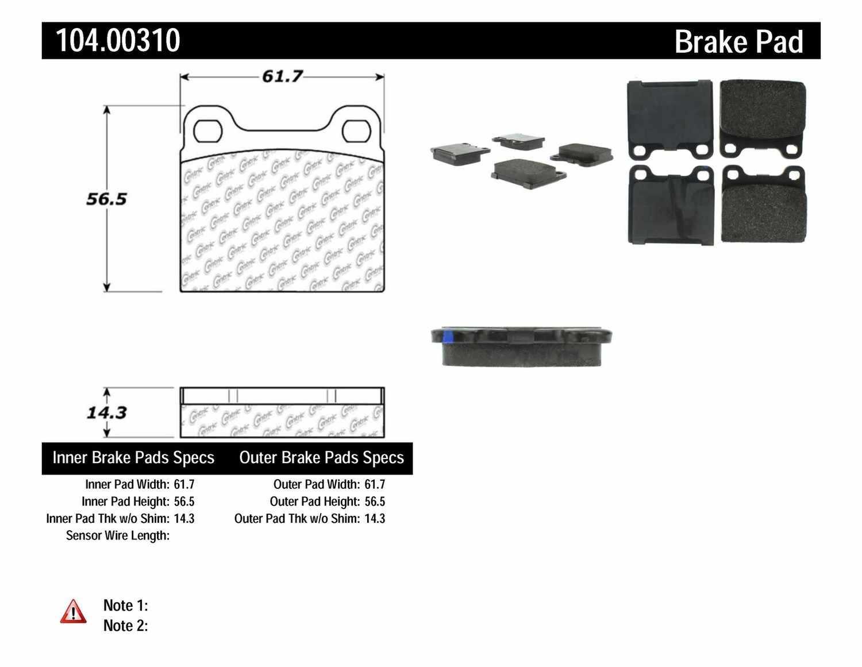 CENTRIC PARTS - Posi-Quiet Metallic Disc Brake Pad w/Shims-Preferred (Rear) - CEC 104.00310