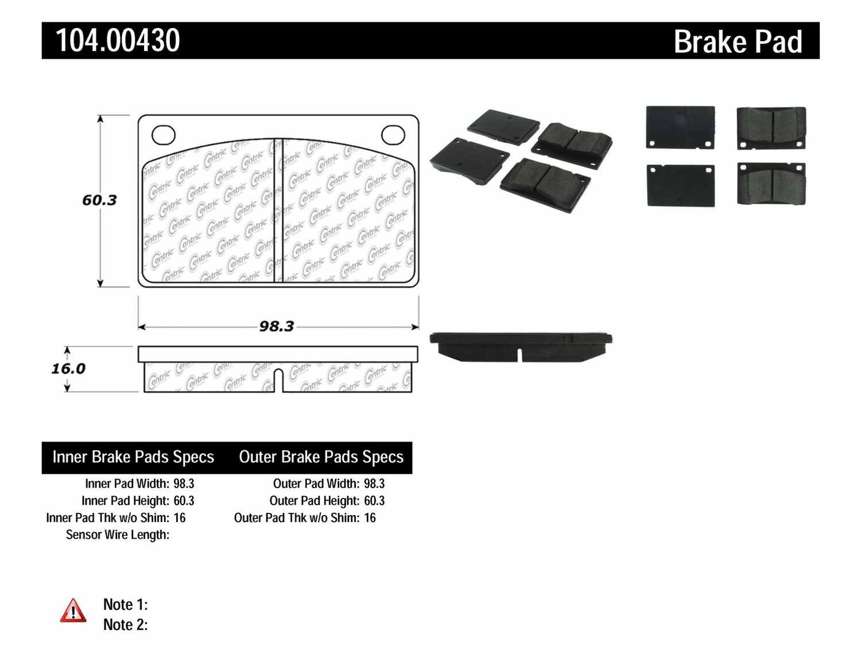 CENTRIC PARTS - Posi-Quiet Metallic Disc Brake Pad w/Shims-Preferred (Front) - CEC 104.00430