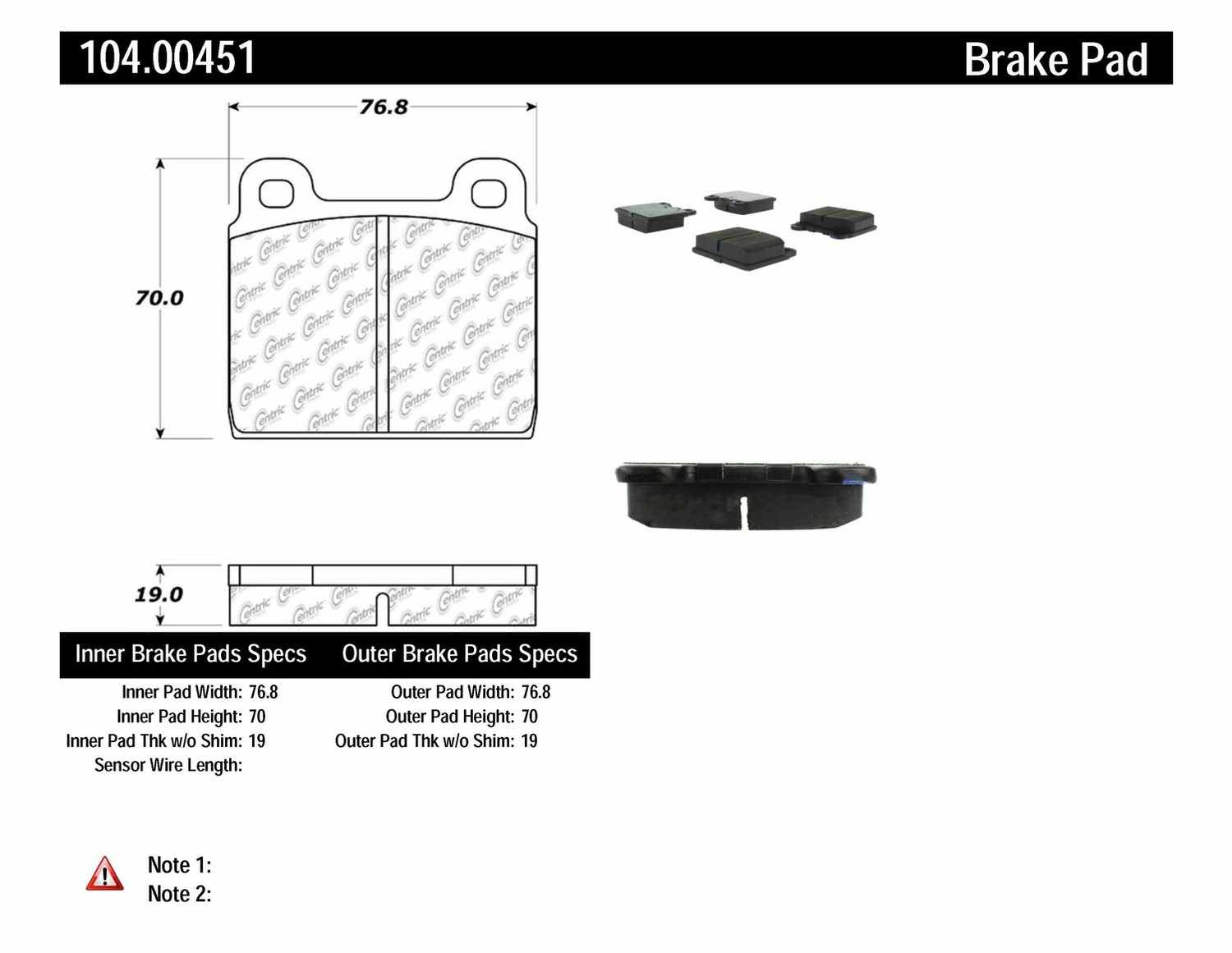 CENTRIC PARTS - Posi-Quiet Metallic Disc Brake Pad w/Shims-Preferred (Front) - CEC 104.00451