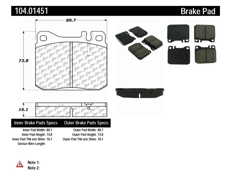 CENTRIC PARTS - Posi-Quiet Metallic Disc Brake Pad w/Shims-Preferred (Front) - CEC 104.01451